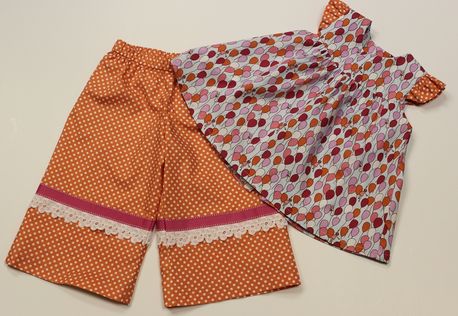Summertime Collection - Girl's Orange Cropped Wide Leg Pants