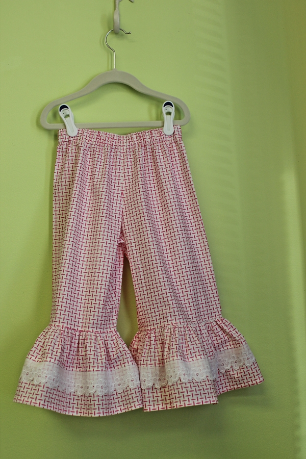 Summertime Collection - Girl's Pink and White Ruffle Pants